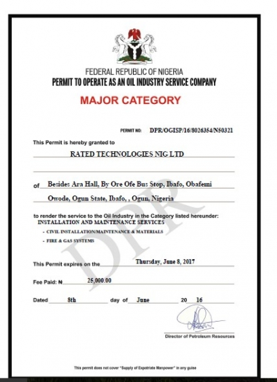 Permit To Operate as an Oil Service Firm